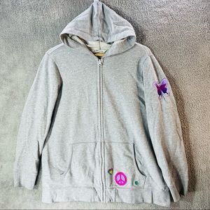 OLD NAVY Hoodie Women XL Gray Embroidered Butterfly Peace Heart Patches Full Zip